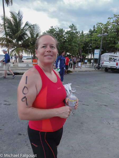 Sau Juan Half Ironman Peggy getting ready for ironman