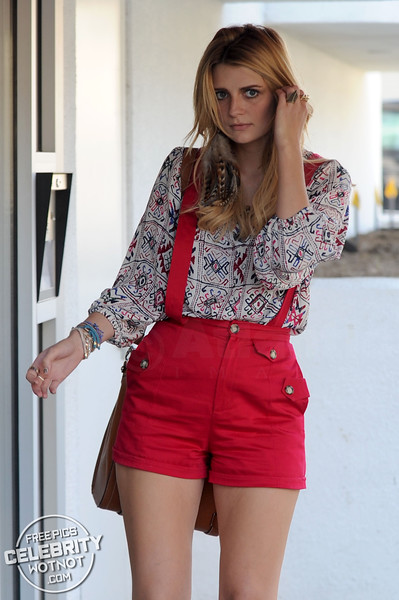 EXC: Mischa Barton In Red Dungaree Shorts Filming In LA
