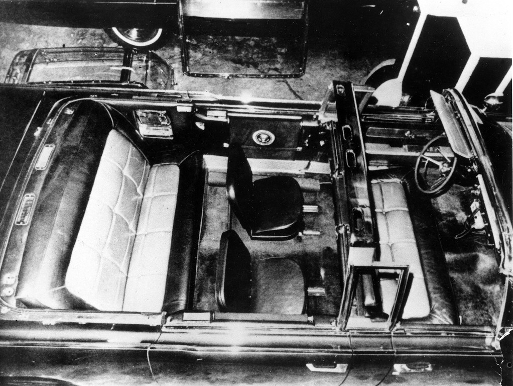 . This image of the interior of the convertible limousine used by Kennedy on Nov. 22, 1963, was exhibit No. 346 in the  Warren Commission\'s investigation.  Associated Press file