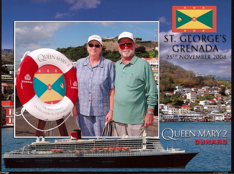 Here we are on arrival at Grenada - it was just too hot here!