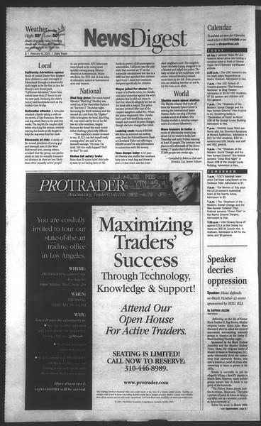 Daily Trojan, Vol. 142, No. 22, February 09, 2001