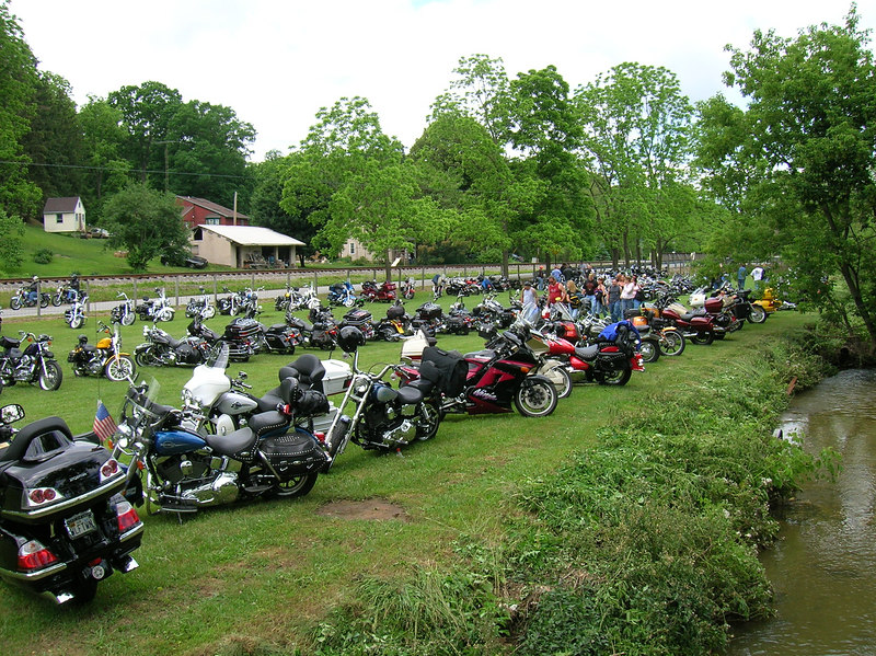 One of the bike-only parking areas with most manufacturers represented.