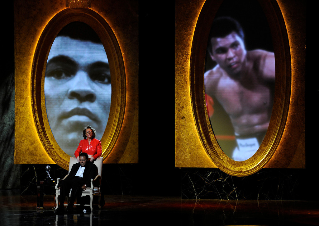 . Muhammad Ali and wife Lonnie are seen on stage at the 40th NAACP Image Awards on Thursday, Feb. 12, 2009,in Los Angeles. Muhammad Ali was presented with the President\'s Award. (AP Photo/Chris Pizzello)