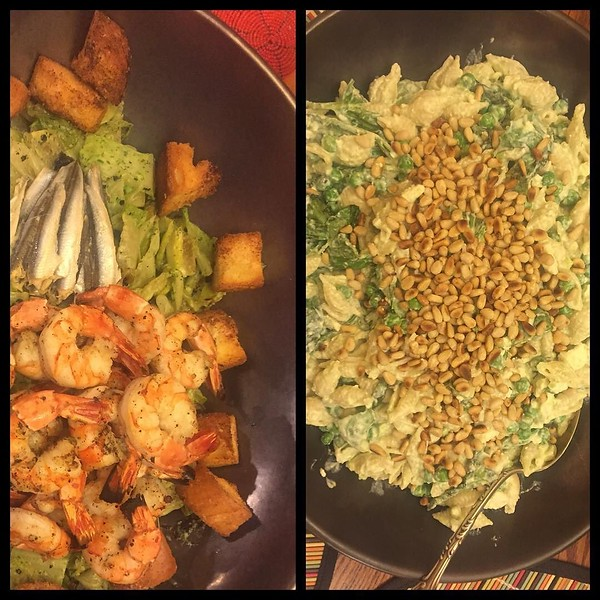 On the table last night: grilled shrimp Caesar salad and @barillaus shells with peas, yogurt and chili (Ottolenghi) #passionforpasta