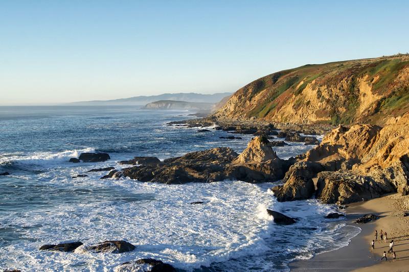 Children playing along the California Coast
