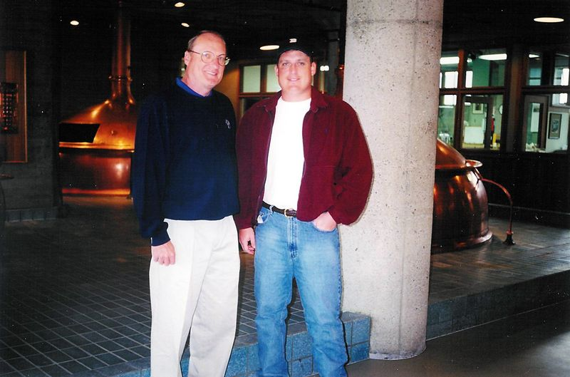 Bob & Brett inside Anchor's copper brewhouse