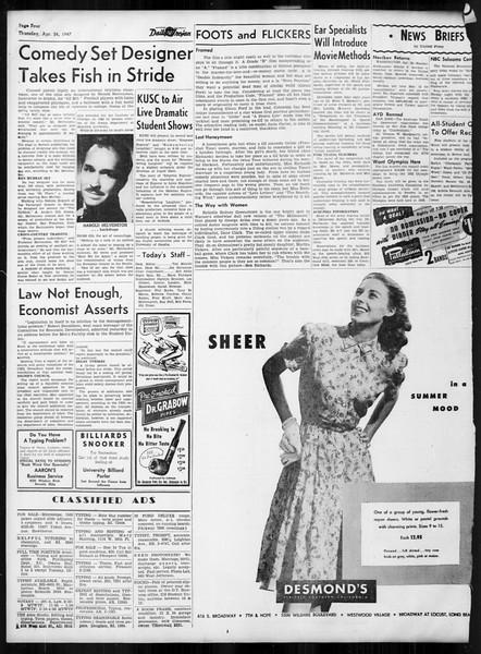 Daily Trojan, Vol. 38, No. 121, April 24, 1947