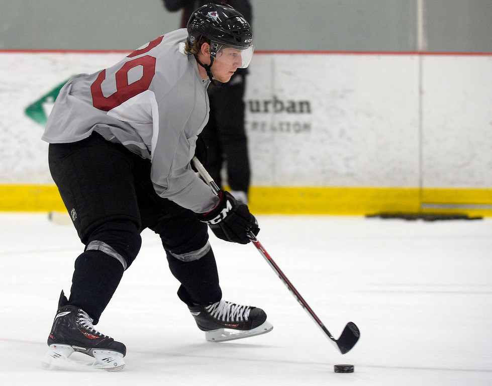 . Colorado Avalanche No. 1 draft pick Nathan MacKinnon (29) skates with the puck on the first day of Avalanche rookie camp September 8, 2013 at Family Sports. (Photo by John Leyba/The Denver Post)