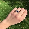 1.55ctw Old Mine Cut and Sapphire Gypsy Ring, GIA 1