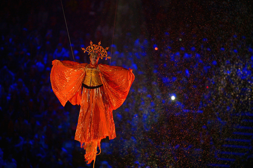 . A participant performs during the Opening Ceremony of the Sochi 2014 Paralympic Winter Games at Fisht Olympic Stadium on March 7, 2014 in Sochi, Russia.  (Photo by Dennis Grombkowski/Getty Images)