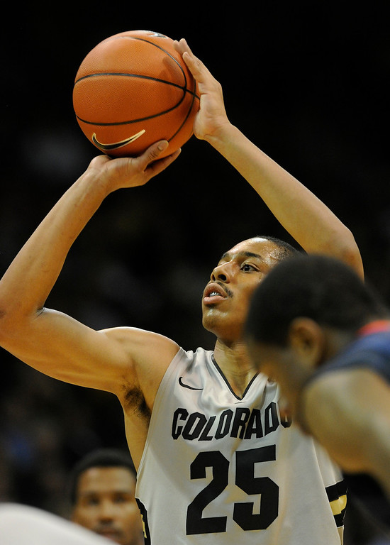 . BOULDER, CO. - FEBRUARY 14: Colorado Buffaloes guard Spencer Dinwiddie (25) aimed a foul shot in the second half. The University of Colorado men\'s basketball team defeated Arizona 71-58 Thursday night, February 14, 2013 at the Coors Event Center in Boulder. (Photo By Karl Gehring/The Denver Post)
