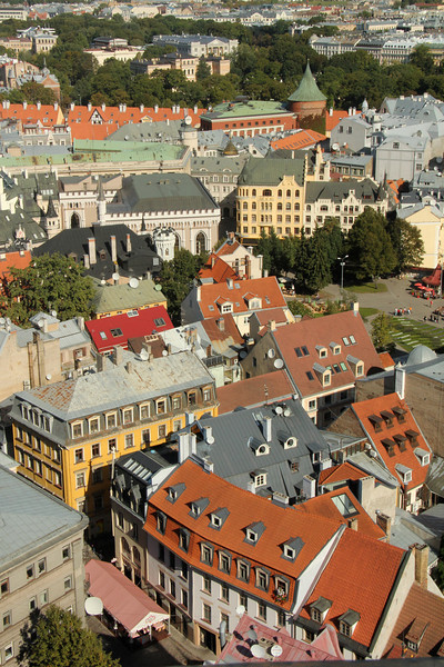 A great view of Old Town Riga viewed from St. Peter's Church -Riga, Latvia