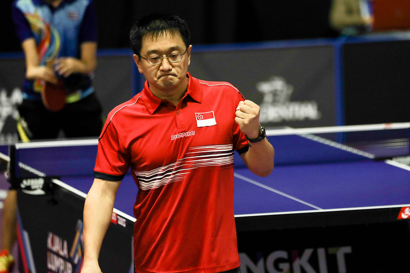 PARA TABLE TENNIS -  TING CHEE KEONG ERIC in action & representing Singapore in Men Individual Class 2 Round-Robin at MITEC Hall 7, KL on September 22nd, 2017 (Photo by Sanketa Anand)