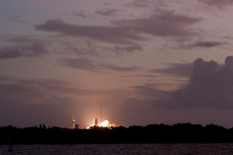 We had no countdown clock, so all we could do was watch intently until we could see the start of the liftoff sequence ( this shot!) -- Delta 2 launch of GPS satellite, as seen from  Jetty Park, Cape Canaveral, FL (6:35am, Aug 17, 2009)