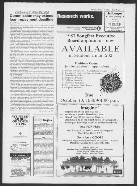 Daily Trojan, Vol. 102, No. 25, October 06, 1986