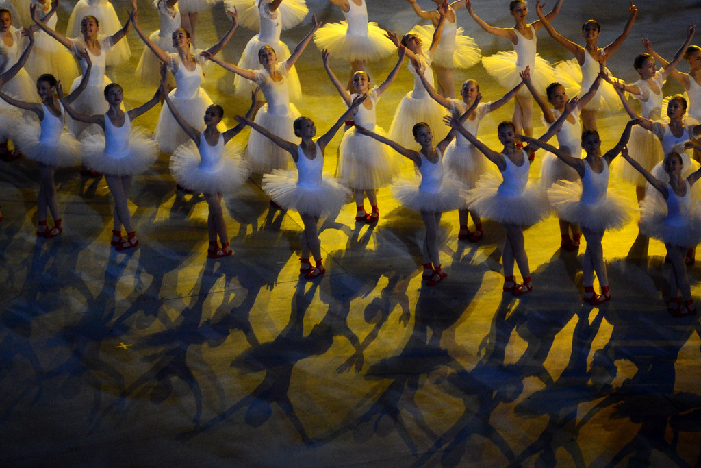 . Dancers perform during the Opening Ceremony of XI Paralympic Olympic games at the Fisht Olympic Stadium close to city of Sochi on March 7, 2014. AFP PHOTO/KIRILL KUDRYAVTSEV/AFP/Getty Images
