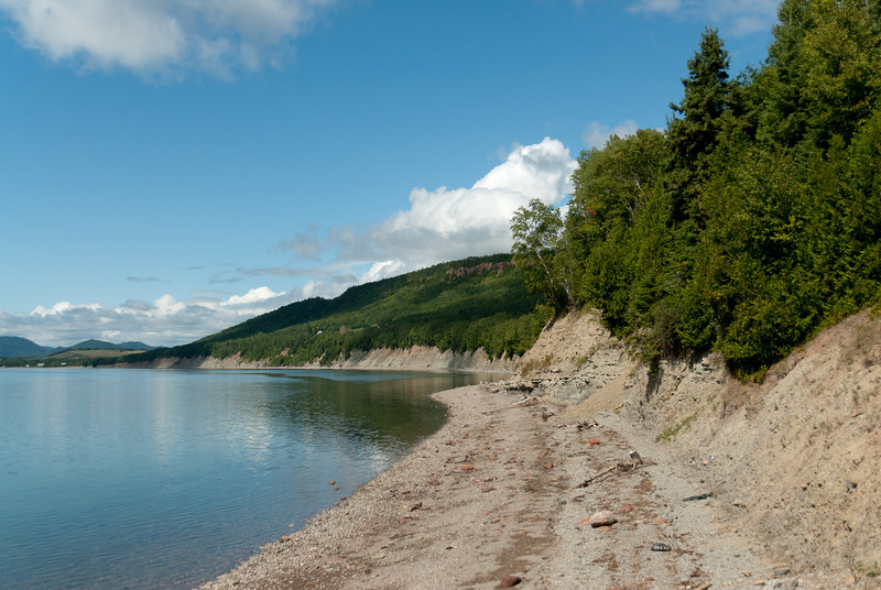 Shore along the cliff of Miguasha National Park, Quebec, Canada