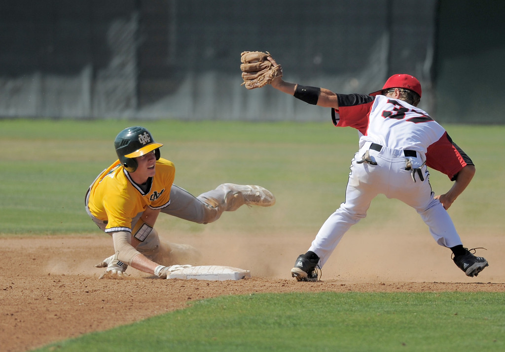 . 05-28-2013-( Sean Hiller/LANG) Mira Costa beat Elsinore 5-3 in Tuesday\'s CIF Southern Section Division III semifinal at Elsinore High School. Costa Braden Casady is safe at 2nd under tag of Blaine Kline.
