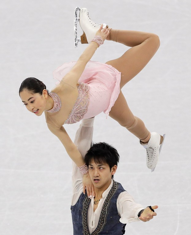 . Miu Suzaki and Ryuichi Kihara of Japan perform in the team event pair skating in the Gangneung Ice Arena at the 2018 Winter Olympics in Gangneung, South Korea, Sunday, Feb. 11, 2018. (AP Photo/David J. Phillip)