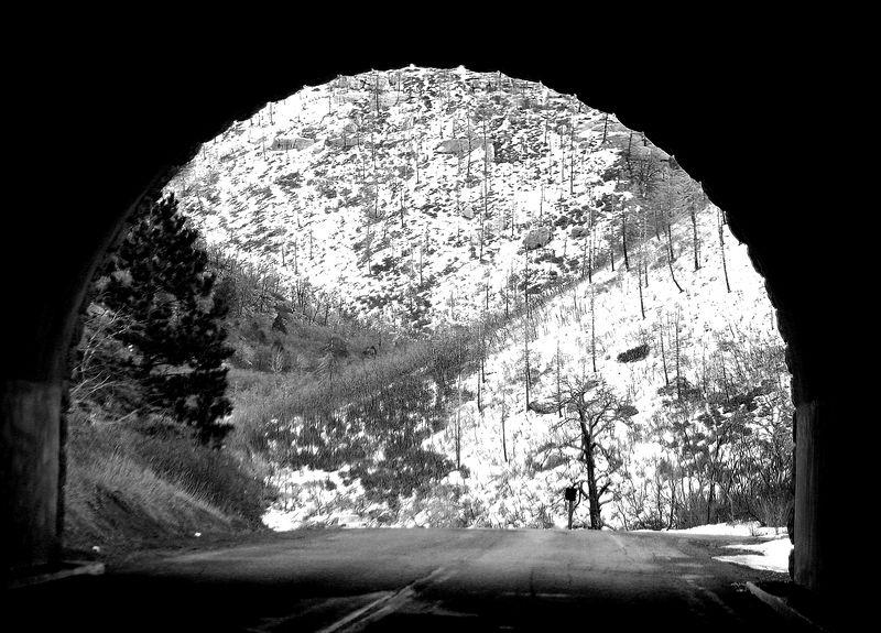 View through the tunnel.  B&W.