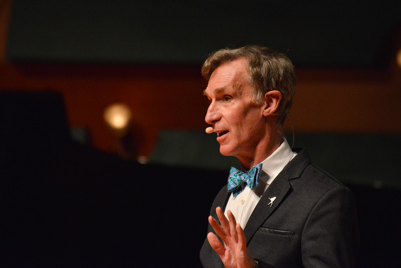Bill Nye speaks to a captivated audience at the Island University