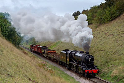 8F #8274 steams through the cutting  near Stanford-on-Soar with a short freight