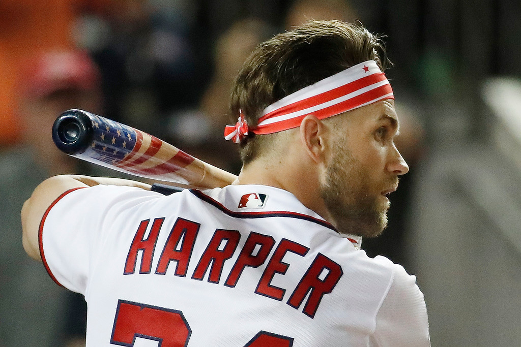 . Washington Nationals Bryce Harper (34) waits for his pitch during the MLB Home Run Derby, at Nationals Park, Monday, July 16, 2018 in Washington. The 89th MLB baseball All-Star Game will be played Tuesday. (AP Photo/Alex Brandon)