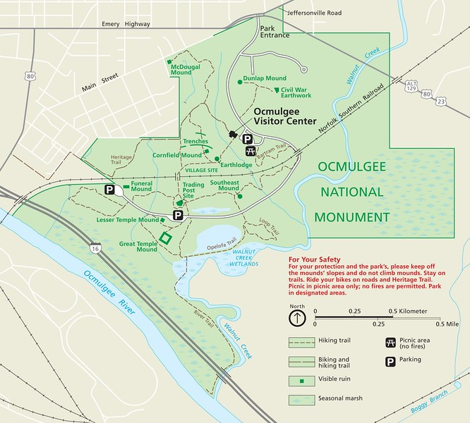Ocmulgee National Monument Map