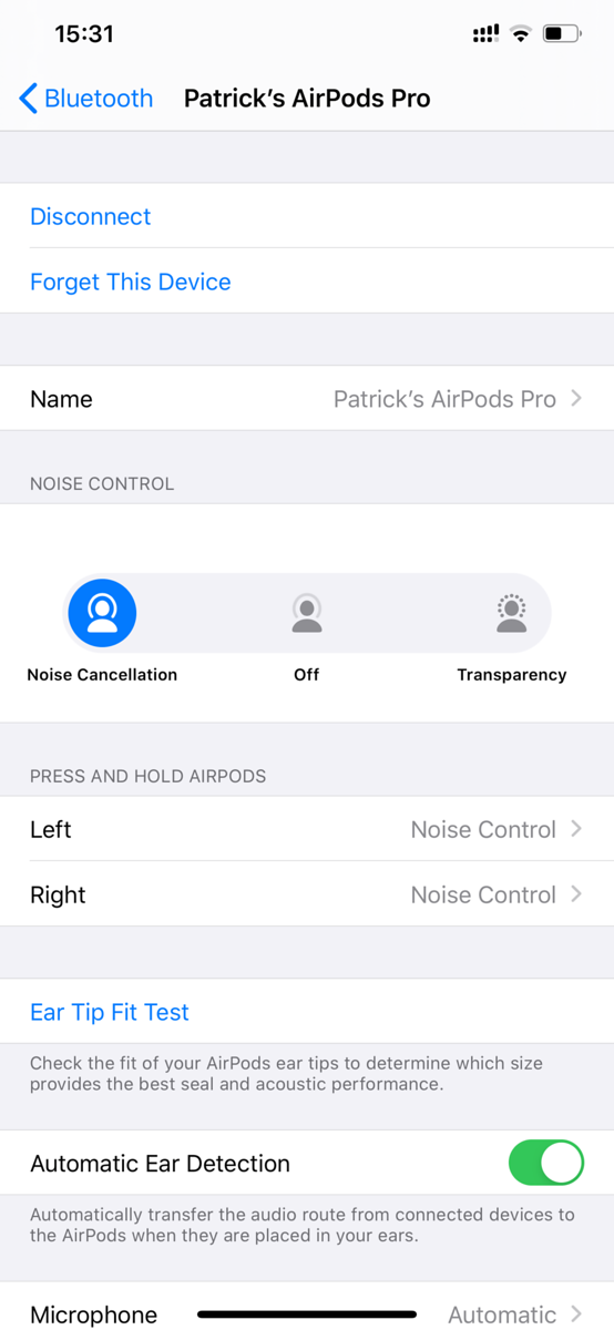 Apple AirPods Pro Control Screen