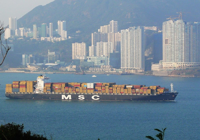 Loaded cargo ship leaving Hong Kong, 2008