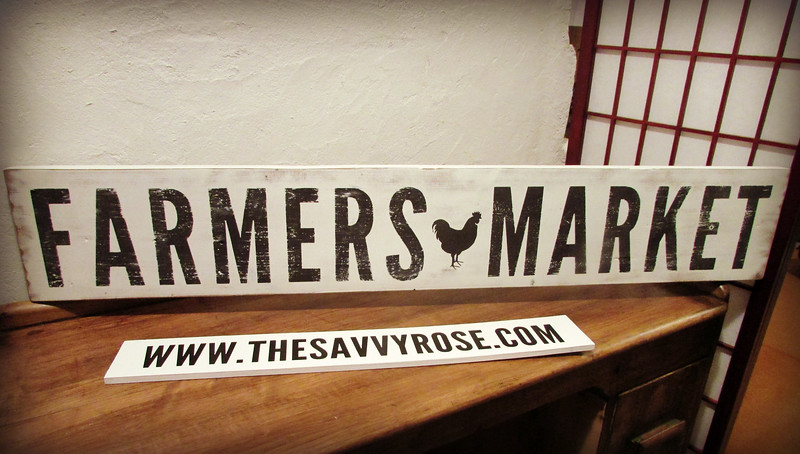 Farmers Market Distressed Wood Sign
