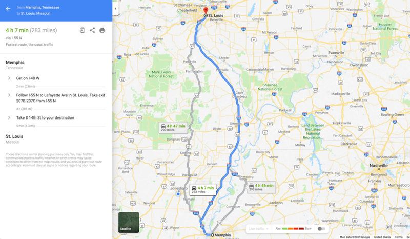 memphis to st louis i-55 route