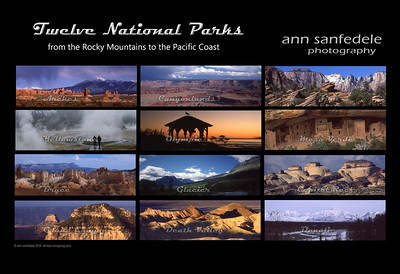 Calendar pages for Twelve National Park calendar - as I get them done - the twelve photos are in the Works in Print /calendars in print area