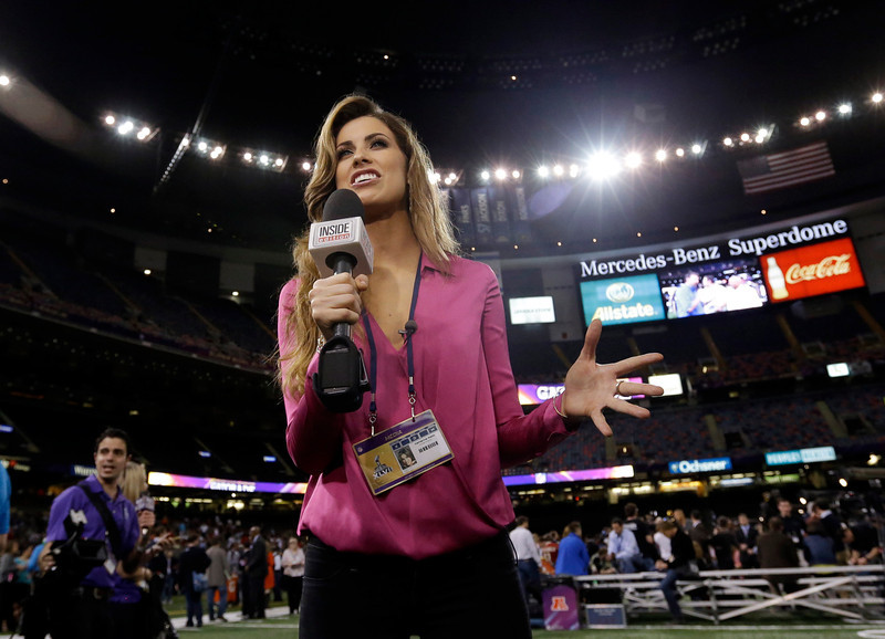 . Inside Edition reporter Katherine Webb is seen during media day for the NFL Super Bowl XLVII football game Tuesday, Jan. 29, 2013, in New Orleans. (AP Photo/Pat Semansky)