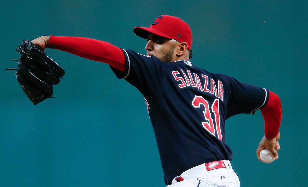 . Cleveland Indians starting pitcher Danny Salazar delivers against the Minnesota Twins during the first inning of a baseball game, Wednesday, Sept. 27, 2017, in Cleveland. (AP Photo/Ron Schwane)