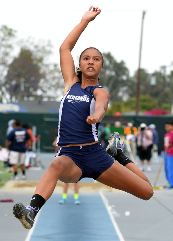 . Redland\'s Margaux Jones competes in the Division 2 long jump during the CIF Southern Section track and final Championships at Cerritos College in Norwalk, Calif., Saturday, May 24, 2014.   (Keith Birmingham/Pasadena Star-News)