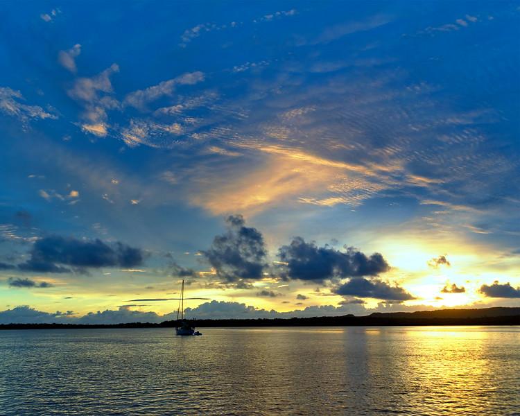 Orange cirrus Sunrise Seascape. Australia