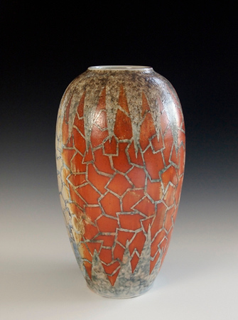 "Crazed Vase #2 12.5""x 6""x 6""- Porcelain with Slip Decoration Wood-fired Cone 10"