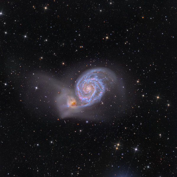 "M51 Whirlpool Galaxy  23,000,000 light years away RCOS 16"" Apogee F16 LRGB 8,3,3,3 Ha for 4 May 2013 NMSkies Remote"