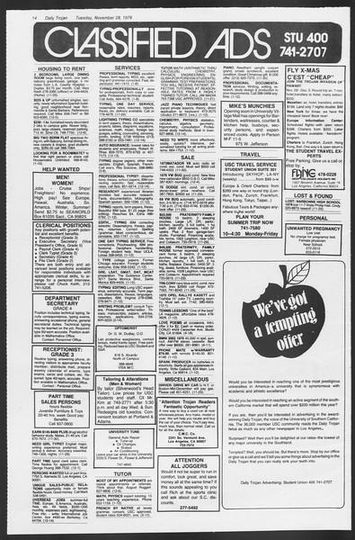 Daily Trojan, Vol. 75, No. 43, November 28, 1978