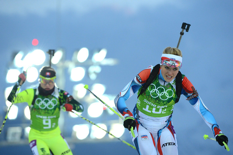. Slovakia\'s Paulina Fialkova (L) and Czech Republic\'s Gabriela Soukalova compete in the Women\'s Biathlon 4x6 km Relay at the Laura Cross-Country Ski and Biathlon Center during the Sochi Winter Olympics on February 21, 2014, in Rosa Khutor, near Sochi. (KIRILL KUDRYAVTSEV/AFP/Getty Images)
