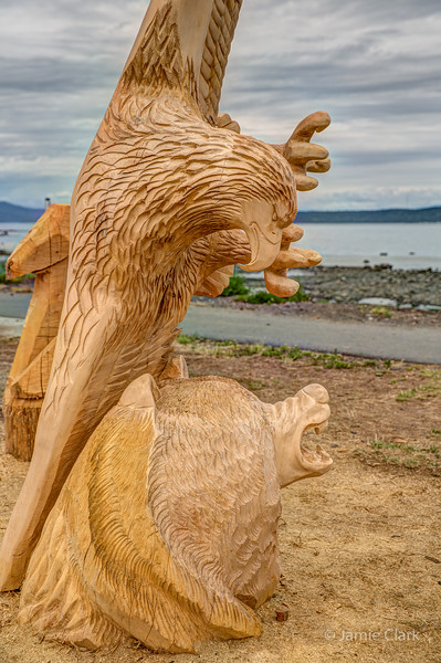 Eagle vs. Bear. Chainsaw Sculpture Competition. Campbell River British Columbia
