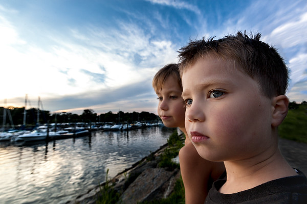 Illarion and Serafim at sun set in Cove Park