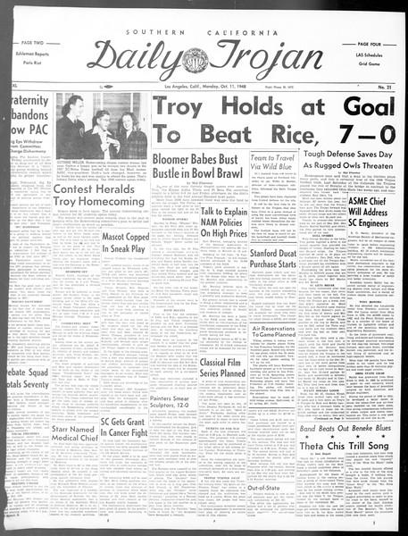 Daily Trojan, Vol. 40, No. 21, October 11, 1948