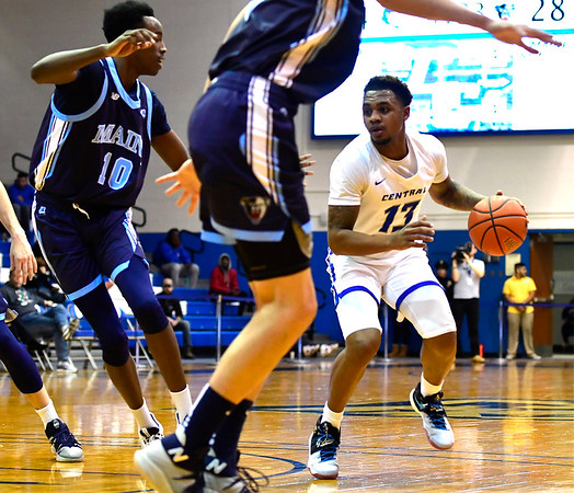 12/7/2019 Mike Orazzi | StaffrCCSU's Jamir Reed (13) during Saturday's mens basketball game with the University of Maine in New Britain.