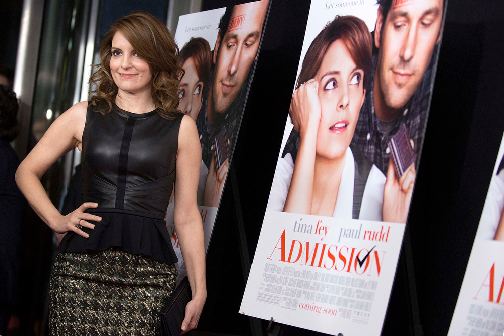 """. Cast member Tina Fey poses at the premiere of \""""Admission\"""" in New York, March 5, 2013. REUTERS/Keith Bedford"""