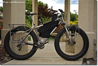 Titanium Moots fatbike with sturdy racks