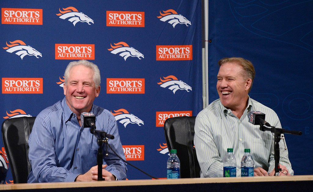 . Denver Broncos head coach John Fox and Denver Broncos executive vice president of football operations John Elway  hold their end of the season press conference Monday, January 14, 2013 at Dove Valley.  John Leyba, The Denver Post