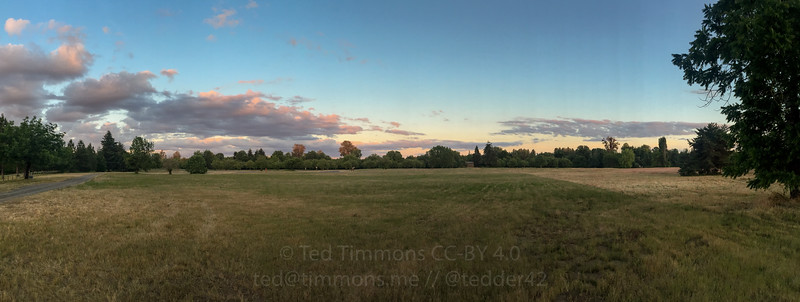 Early sunset panorama at Willamette Mission.