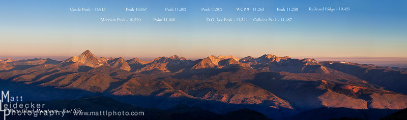 Sunrise on the east side of the White Clouds from the summit of Bowery Peak.  Peak names and elevations included. Native image dimensions - 20 x 68